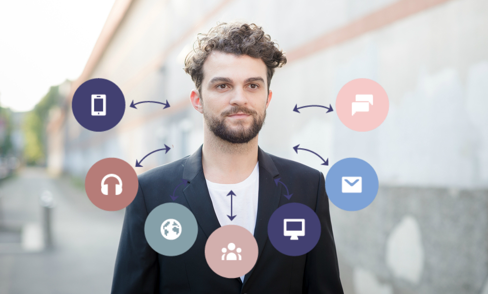 Man on street with icons of channels and touchpoints