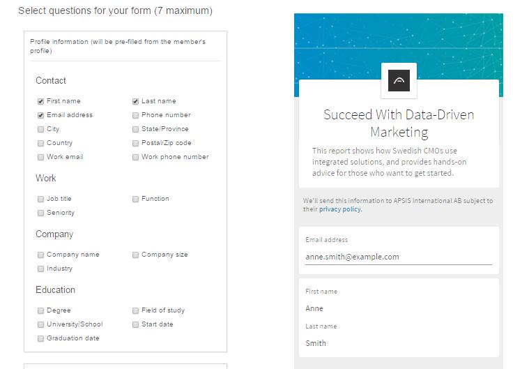 Add form fields on LinkedIn