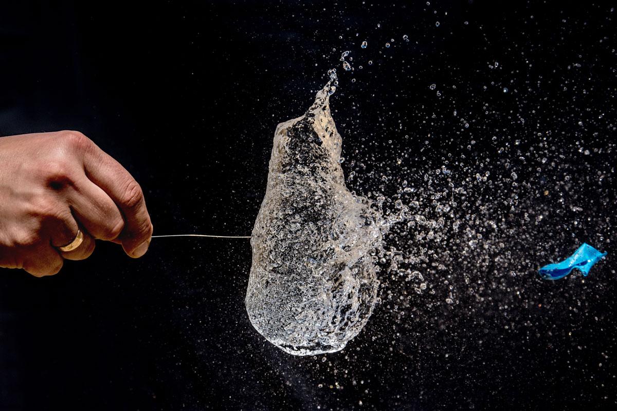 Needle bursts a balloon