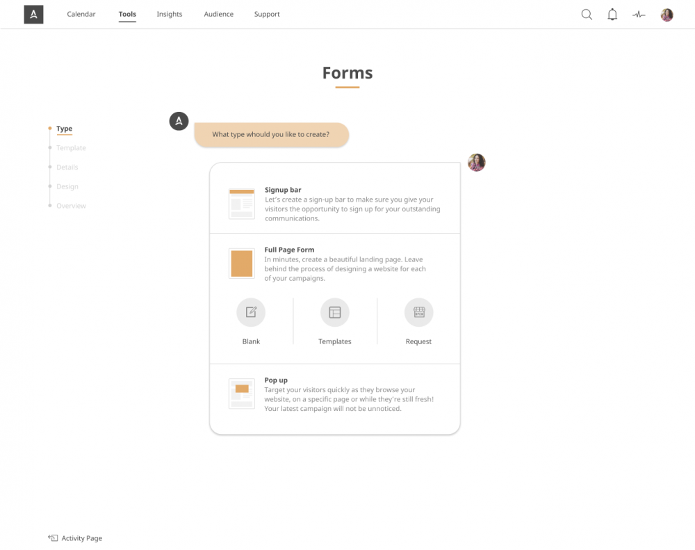 Form and standalone pages